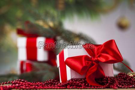 beautiful gift box with red ribbon