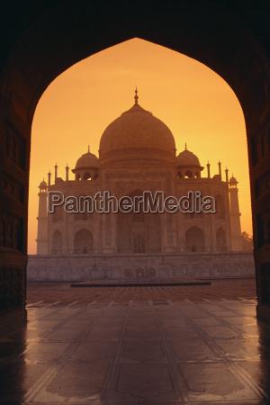 india agra vista de taj mahal