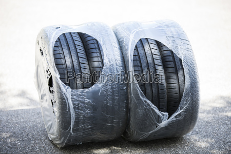 summer tyre wrapped in foil