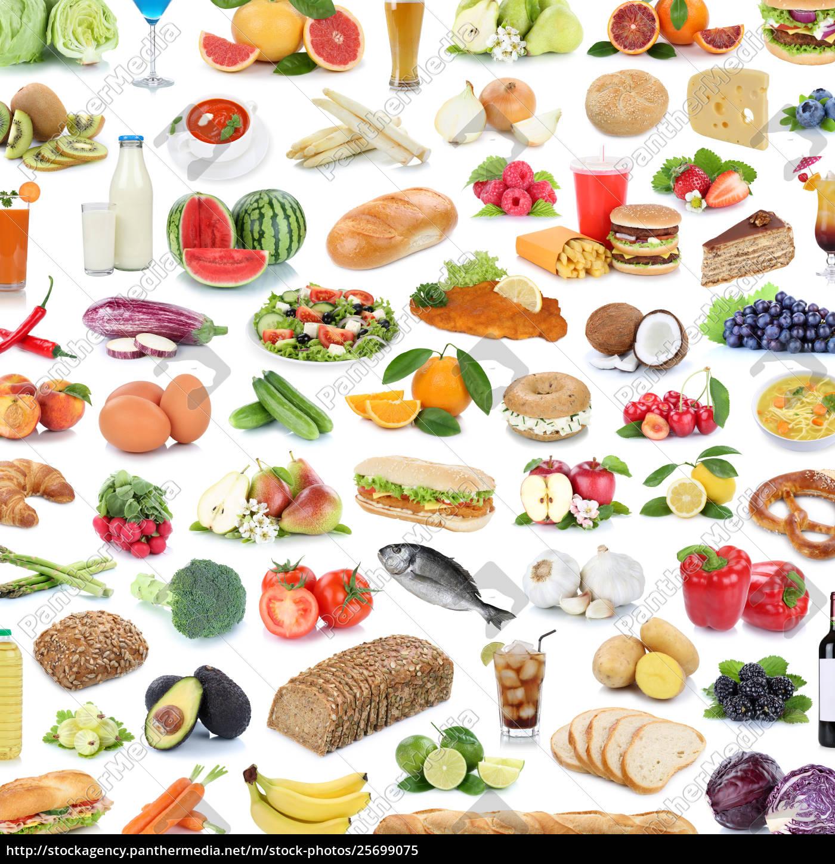 Colección Collage Alimentos Alimentos Saludables Foto De Archivo