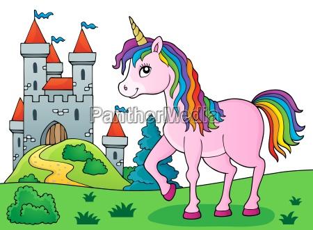 imagen de tema de unicornio feliz