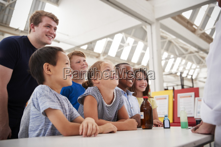 group of kids with teachers having