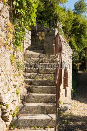 old stone staircase at a residential