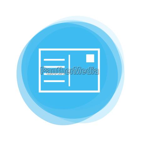 light blue button postcard