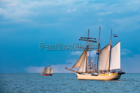 windjammer on the baltic sea in