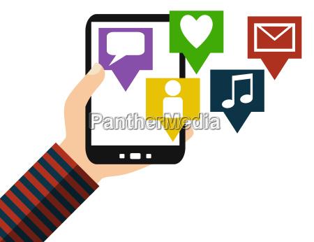 smartphone social media flat design