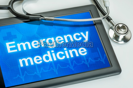 tablet with the text emergency medicine