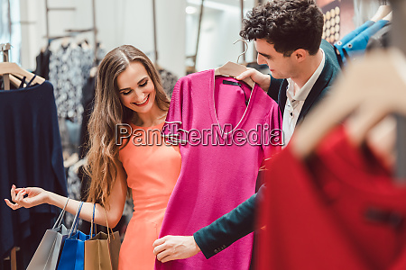 woman with her man shopping dress