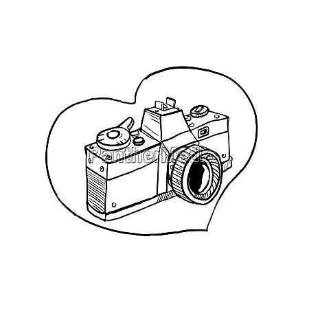 vintage 35mm slr camara corazon dibujo