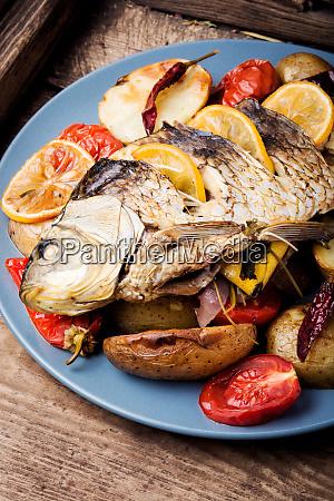 pescado al horno con guarnicion vegetal