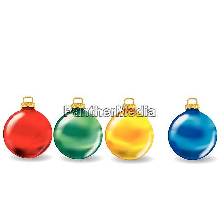 four colorful christmas balls