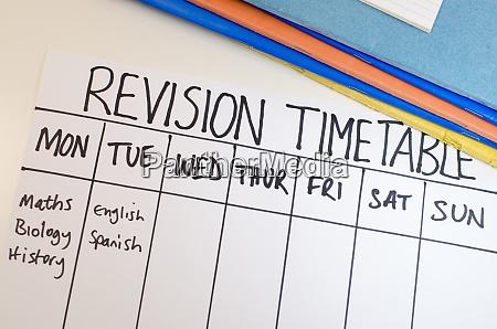 concepto de calendario de revision o
