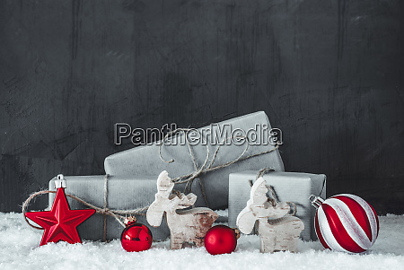 green christmas gifts snow black and