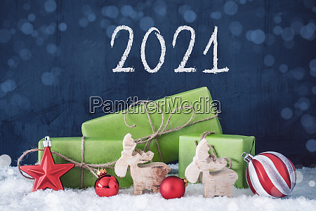 green christmas gifts snow decoration 2021
