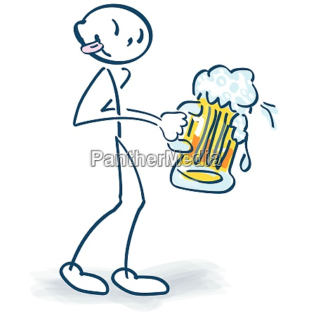 stick figure with a big beer