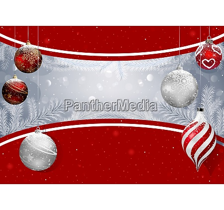 christmas background with baubles and snowy