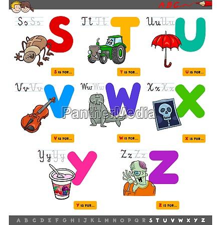 educational cartoon alphabet set for kids