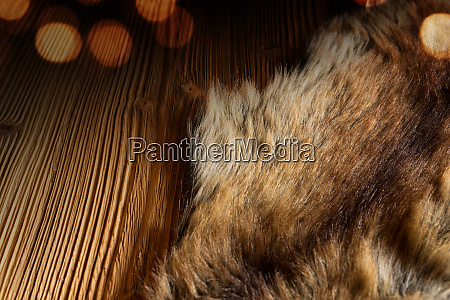 wooden table with a cuddly fleece