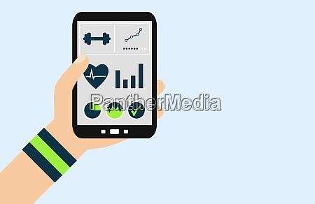 smartphone fitness app flat design