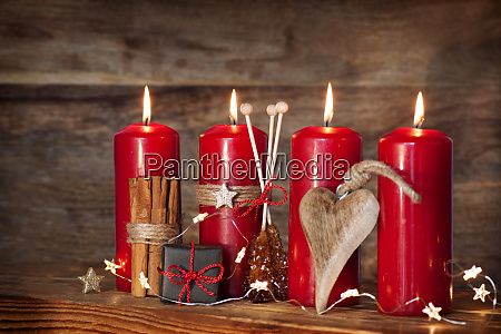 decoration with four red advents candles