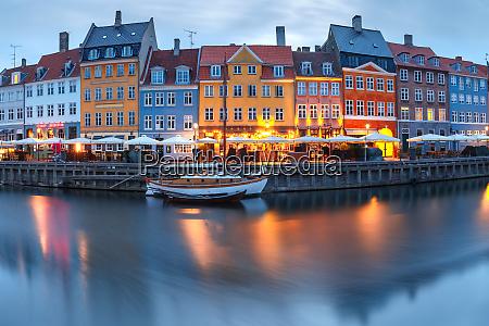 panorama of nyhavn in copenhagen denmark