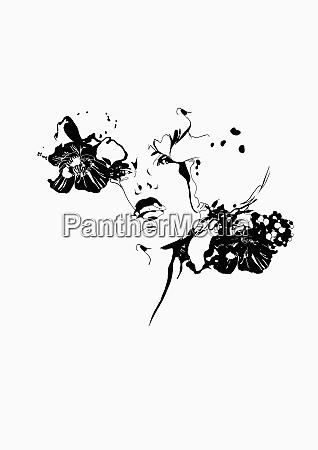 mujer elegante y flores