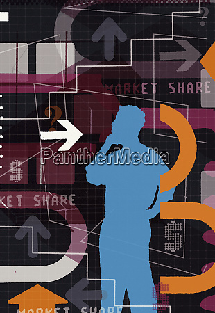 confused man standing with montage of