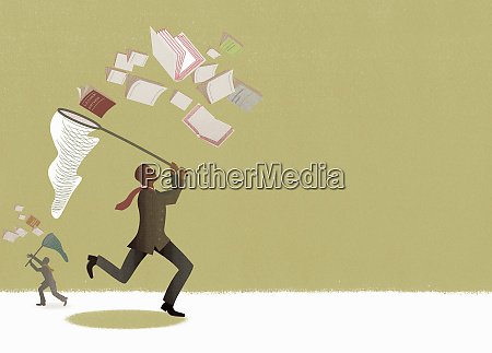 businessmen chasing business management strategy documents