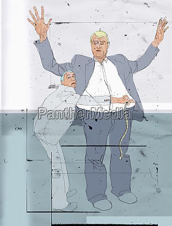 hombre de negocios de medicion a