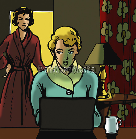 mother discovering teenage daughter using laptop