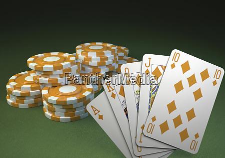 poker royal flush and poker chips