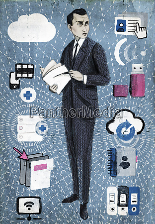 businessman with file and information management