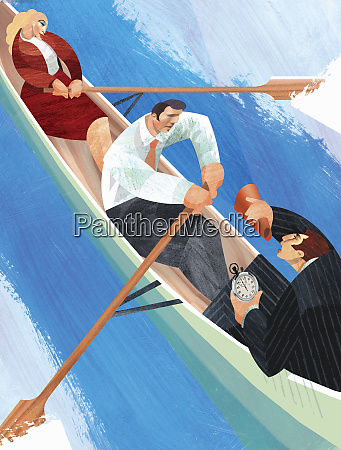 businessman using bullhorn to encourage co