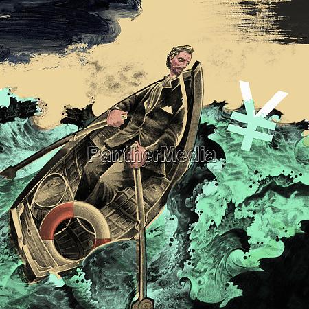 man rowing boat in stormy ocean