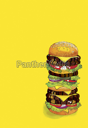 hamburguesa grande de muchas capas