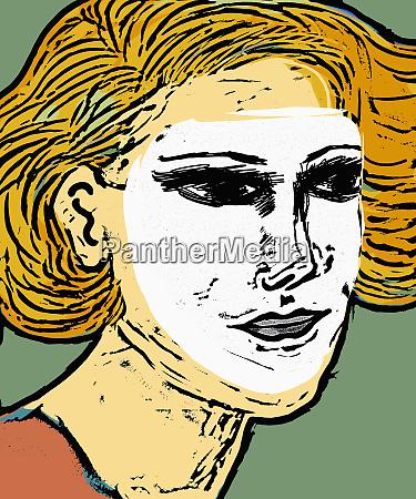 mujer usando mascara