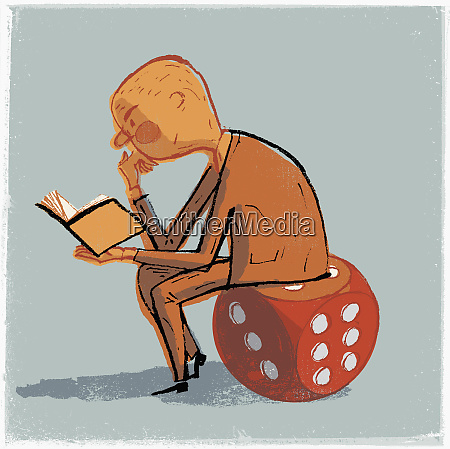man sitting on dice and reading