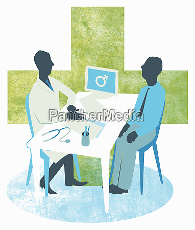 doctor and male patient meeting in