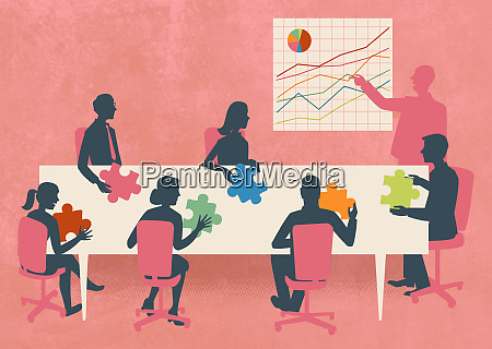 business people with multicolored jigsaw puzzle