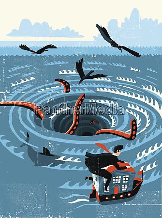 businessman escaping whirlpool vortex on bank