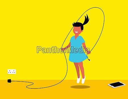 girl preferring skipping instead of using