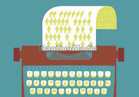maquina de escribir con teclas graficas