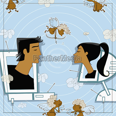 man and woman on computer monitors