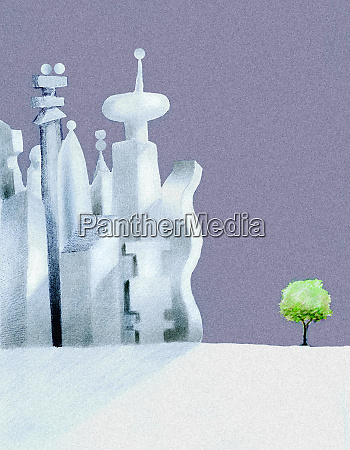 cityscape contrasting with small tree