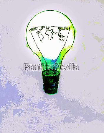 global map inside green light bulb