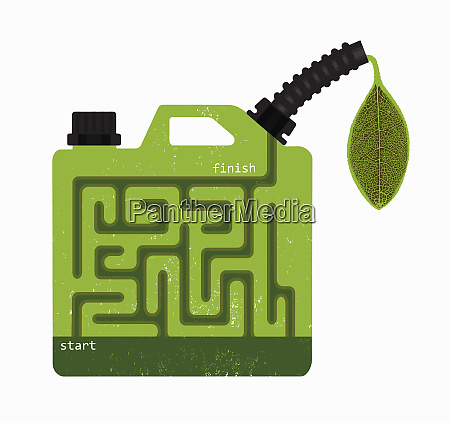biofuel gasoline can with start and