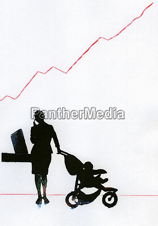 businesswoman with baby in stroller talking