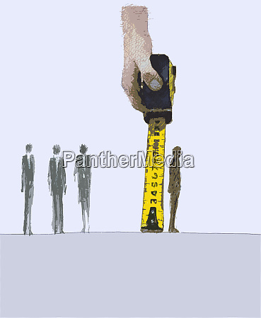 business people being measured by large