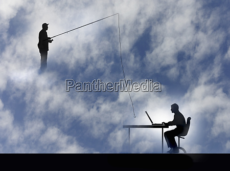 man fishing with hook over man