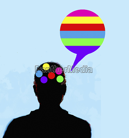 man thinking and speaking in rainbow